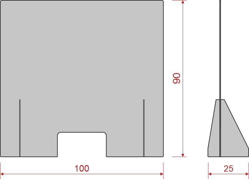 Mampara Anticontagio Standard croquis medidas 100x90