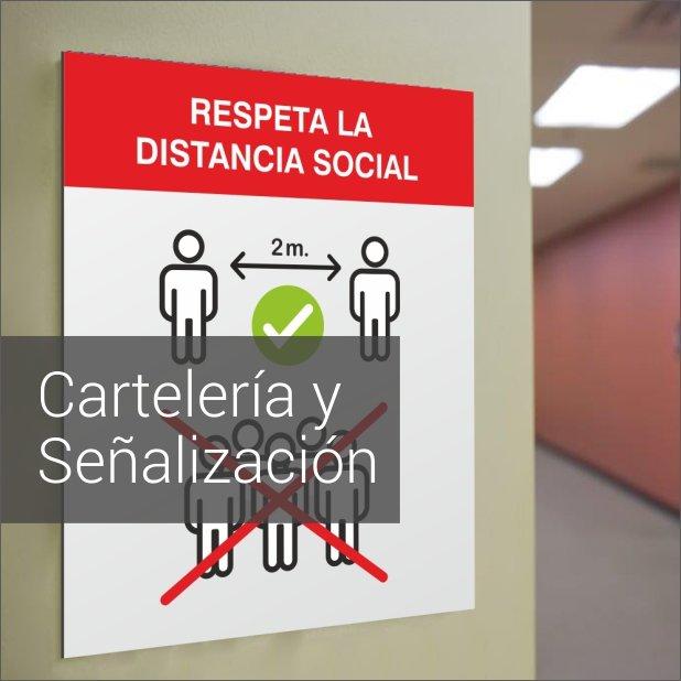 Portada de Dossier descargable de cartelería y señalización como prevencion anticontagio